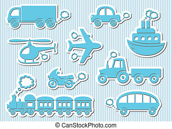 Transport icons - Set of cute blue means of transport icons