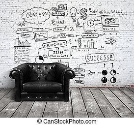 cadeira, sótão, desenho, conceito