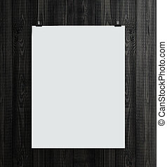 paper card - wooden wall with paper card