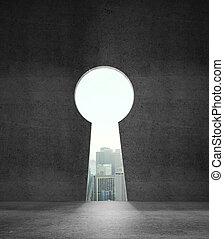 wall like keyhole - opened concrete wall like keyhole