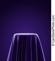presentation pedestal covered with purple silk cloth