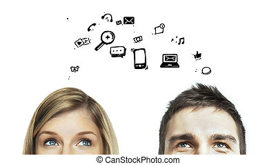 social media symbol - man and woman with social media icon