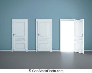 open door - three open doors in room