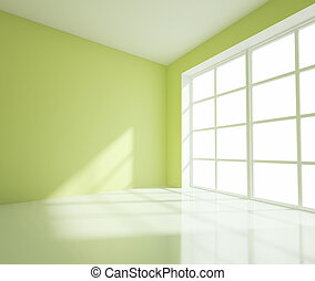 empty green room - empty big green room with white window