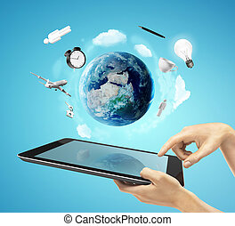 social media concept - hands holding a tablet social media...