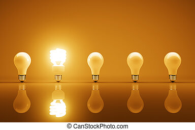 lightbulbs - light bulbs on yellow bakground