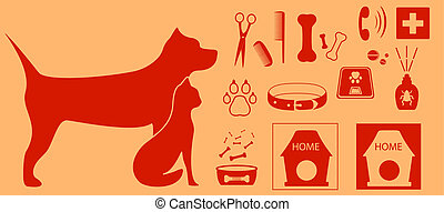 collection isolated objects for pet - veterinarian set with...