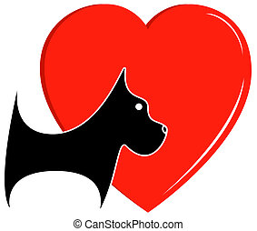 icon with dog and heart - veterinary icon with dog and big...