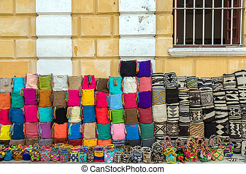 Handicrafts in Cartagena - Souvenir bags for sell in...