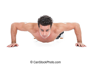 Man Doing Pushups - Muscular Young Man Doing Pushups On...