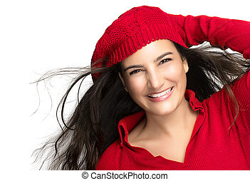 Happiness. Joyful Winter Girl in Red. Flying Hair -...
