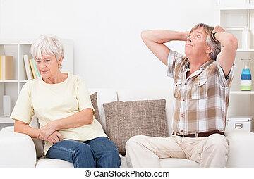 Senior Couple Quarrelling - Portrait Of Senior Couple...