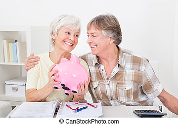 Senior Couple Saving Money - Portrait Of Smiling Senior...