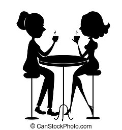 Two lovers women drinking coffee.Vector black silhouette -...