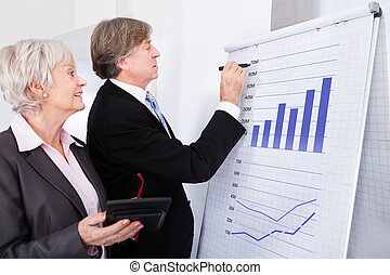 Two Businesspeople With Calculator In Front Of Flipchart -...