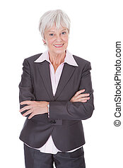 Happy Mature Businesswoman - Portrait Of Happy Mature...