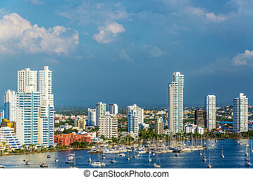 Yachts and Modern Cartagena - View of the marina and tall...