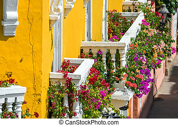 Colorful Balconies - Yellow and white balconies covered in...
