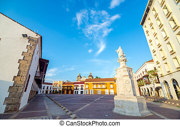 Historic Plaza in Cartagena, Colombia - The historic Plaza...