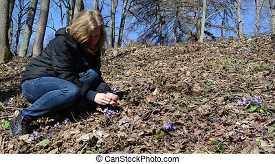 violet flower pick - squat girl in the woods between the dry...