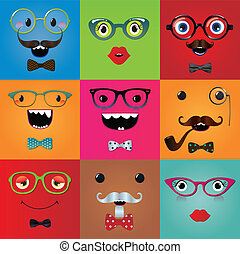 Set of funny hipster monster eyes and face expressions....