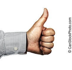 thumb up - hand with thumb upwards as a sign of success,...
