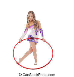 Adorable curly girl posing with red hula hoop, isolated on...