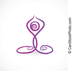 Yoga swirly pose logo - Yoga swirly pose icon vector