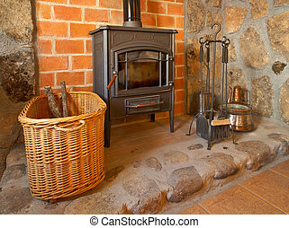 Fireplace and tools - View of a cozy old fireplace in the...