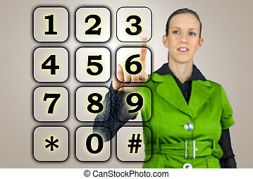 Woman with a numeric keypad on a virtual interface raising...