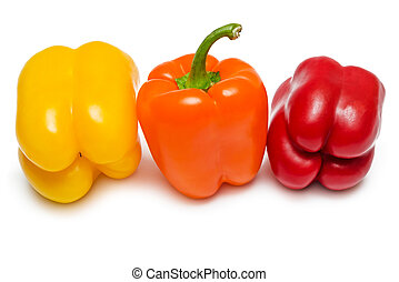 Red orange and yellow Bell peppers - Fresh red orange and...