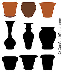 flower pots - Silhouettes of flower pots and pottery, vector