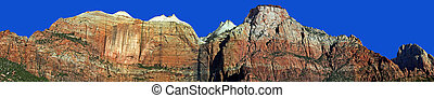Zion - A panoramic view of the sandstone cliffs of Zion...