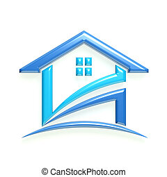 3D Glossy Real Estate Business Blue Home Icon