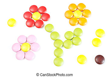 Candy flowers Many colourful candy filling background