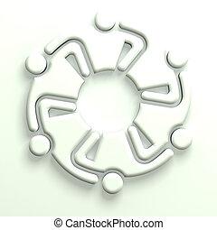 3D Illustration Business Icon Leader Hugging 6