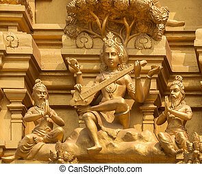 Goddess Saraswati on Sri Naheshwara temple in Bangalore. -...