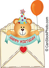 Teddy Bear in Birthday Envelope - Scalable vectorial image...