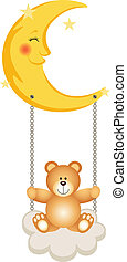 Teddy Bear Swinging in Moon - Scalable vectorial image...