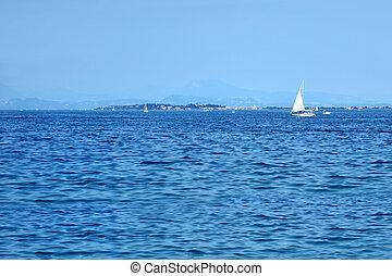 beautiful view of Lake Garda near Sirmione, Italy