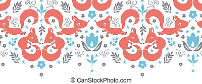 Cute foxes horizontal seamless pattern background - vector...