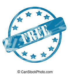 Blue Weathered Free Stamp Circle and Stars - A blue ink...