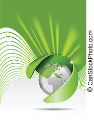 Vector abstract green background with a globe and rays of...