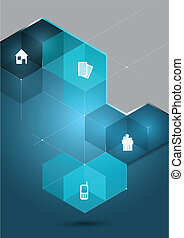 Vector abstract background with 3D cubes and corporate icons