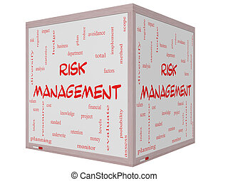 Risk Management Word Cloud Concept on a 3D Cube Whiteboard
