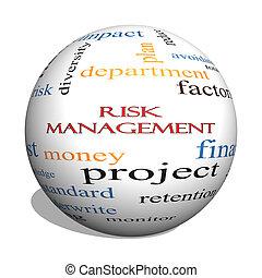 riesgo, dirección, 3D, esfera, palabra, nube,...