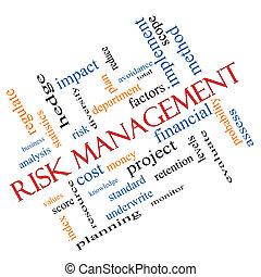 Risk Management Word Cloud Concept Angled - Risk Management...