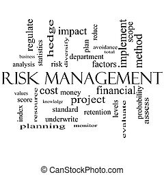 Risk Management Word Cloud Concept in black and white with...