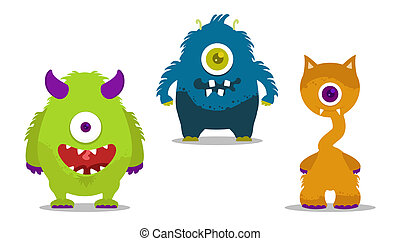 cute monsters set with one eye