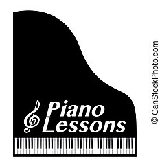 piano lessons poster, with musical note
